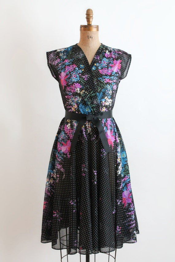 Floral galaxy print dress 70s sheer pin dot dress in floral for Galaxy sheer fabric