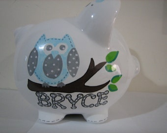 Personalized Large Blue Grey  Owl Piggy  Bank-Newborns , Girls , Baby Shower, Ring Bearer, Gift Centerpiece