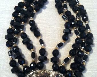 Chunky Black Beaded Mixed Metal Nouveau Revival Multi Strand Vintage ALORIA Necklace