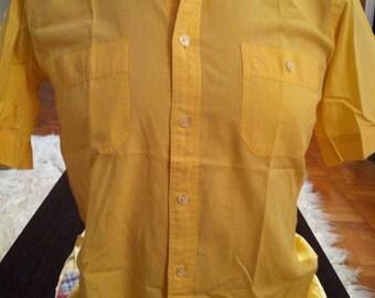Tiny Yellow Check Vintage CHRISTIAN DIOR S/S Mens Shirt - S