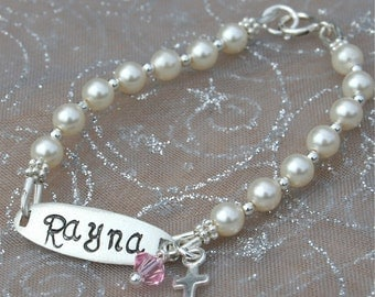 Baby Bracelet - Newborn Bracelet - Sweet Pearls - Initial Sterling and Pearl Bracelet -Baptism/Communion/Confirmation/Newborn