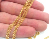 3 Meters - 9.9 Feet  (2.5 mm)  Soldered Rolo Chain , 22K Gold Plated G451
