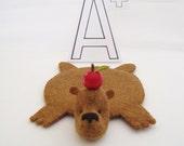 Bear Rug Coaster with Apple (I am Teacher's Pet)