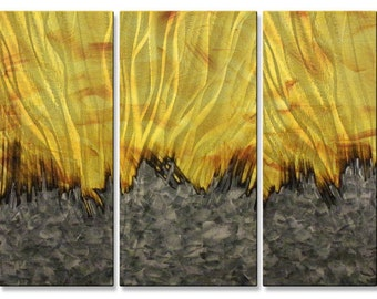 Inferno-------Large 66 x 23.5 7 Panel Ground Metal Wall Decor by Justin Strom