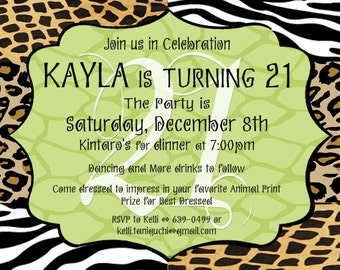 Animal PRINT Birthday Party Invitation