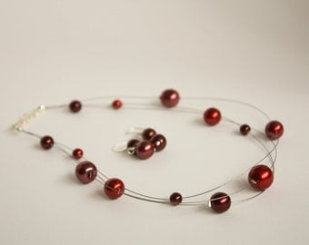Red glass pearl illusion necklace and earrings set, bridesmaids jewellery.