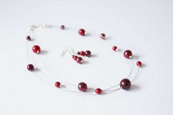 red glass pearl multi strand illusion necklace and by lsbjewellery