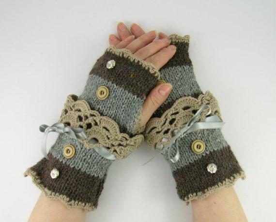 Knit fingerless gloves arm warmers fingerless mittens women grey brown tweed beige lace romantic victorian