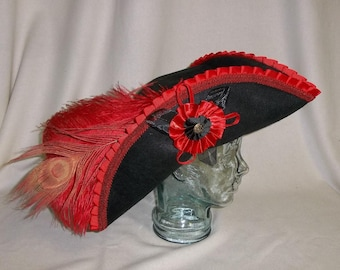 Deluxe Black Pirate Hat- Tricorn with Black, Red and Gold Trim and Feathers