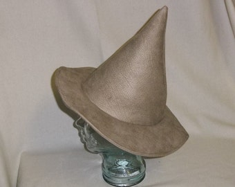 Tan Dragon Hide Witch Hat- Unwired Brim
