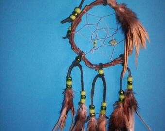 Native American inspired  Dream Catcher 4-88, Chicken Feathers, Glass Beads, Grapevine