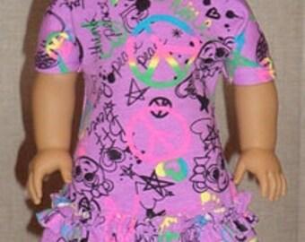Graffiti Print Open-Shoulder Style Dress For American Girl Or Similar 18-Inch Dolls