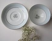 Vintage Noritake Mavis 1950s Blue Platinum Floral Teacup & Saucer