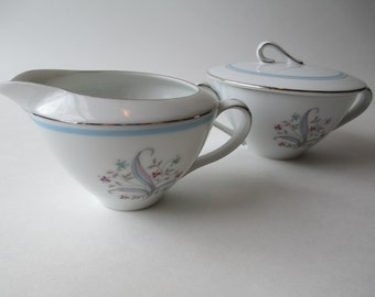 Vintage Yamaha China Laura Blue Pink Cream and Sugar Set