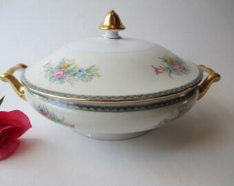 Vintage Covered Dish Pink Blue Floral Japan - Cottage Chic