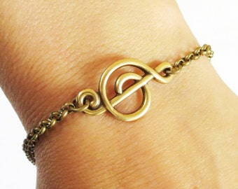 Steampunk Music Note Bracelet- Antiqued Brass- Treble Clef Bracelet- G Clef