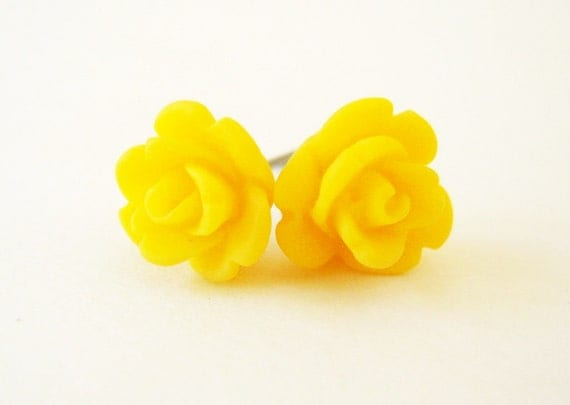 Bright Yeallow Rose Stud Earrings- Surgical Steel or Titanium Post Earrings- 9mmBlack Friday Sale 20% Off