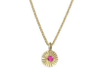Flower Ruby Gemstone Gold Necklace, Ruby Wedding Necklace, Circle Medallion Necklace, Ruby Birthstone Necklace, Gemstone Pendant Necklace