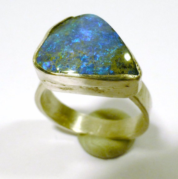 Boulder Opal Ring Fine Silver Natural Australian Opal Amazing Blue AAA Grade Stone One of a Kind Hand Made by Lisajoy Sachs - PMC