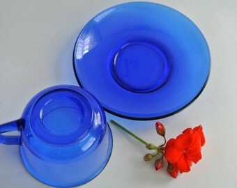 TWO (2) Sets of Vintage- COBALT Blue-Depression Glass Tea Cups & Saucers-GLCOLOC, France