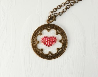 Heart Necklace / Antique Brass  / Pink Rose  / Hand Embroidered