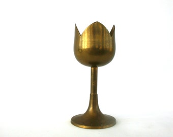 Vintage Brass Candle Holder. Spring Decor. Tulip Flower Desktop Accessory. Tabletop Decor. Tulip Flower. Spring Home Decor. Nursery Decor.