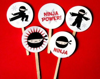 Ninja Power 2 inch Cupcake Toppers Printed and Assembled - Made to Order - Pack of 20