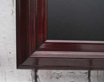 "CHERRY WOOD CHALKBOARD 41""x29"" ExTRA LaRGE Chalkboard Magnetic Modern Home Decor Urban Leaning Cherry Framed Chalk board"