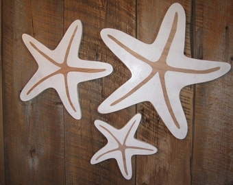 Set of 3 Star Fish - Wall Art Indoor Ocean Beach Decoration