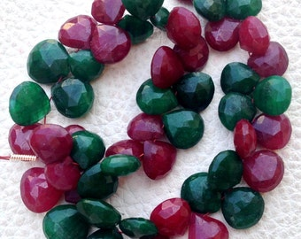 New Arrival, Dyed Natural RUBY & EMERALD Faceted Heart Shape briolettes,9-10mm Long, Finest Item