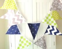 Nautical Bunting Banner, Fabric Pennant Flags Garland, Navy Blue Anchor, Grey Chevron, Starfish, Lime, Baby Boy Nursery Decor, Baby Shower