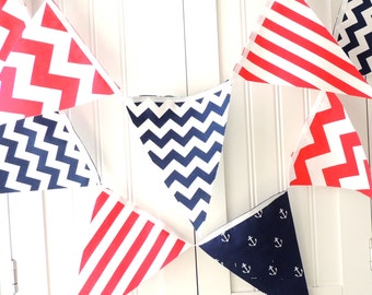 Nautical Party Banner, Bunting, Fabric Pennant Flags, Navy, Red, White, Nautical Party, Anchors, Chevron, Boy Nursery, Baby Shower Banner