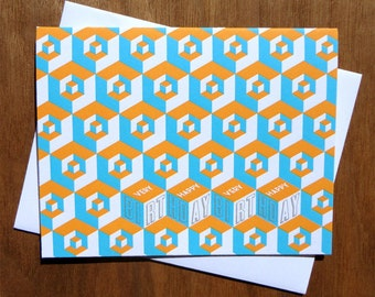 Handmade Letterpress Birthday Cubed Card