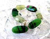 Ruby zoisite bracelet with large prehnite stones, green gemstone tennis bracelet, solid sterling silver