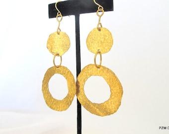 Long geometric earrings, gold hammered double circle dangle earrings, gift under 45