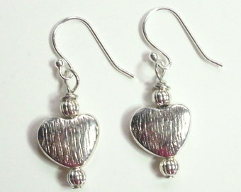 Heart Silver Dangle Earrings