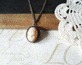 GERTRUDE vintage cream ivory cameo pendant necklace