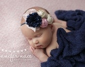 Winter Blush- navy, pink and champagne gold rosette and satin bloom headband