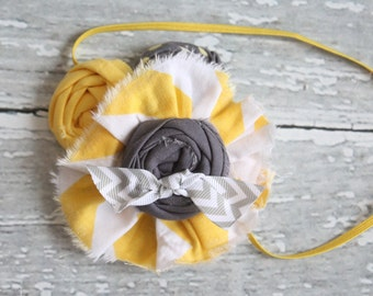 Little Boats- ruffle and rosette headband in grey and yellow chevron
