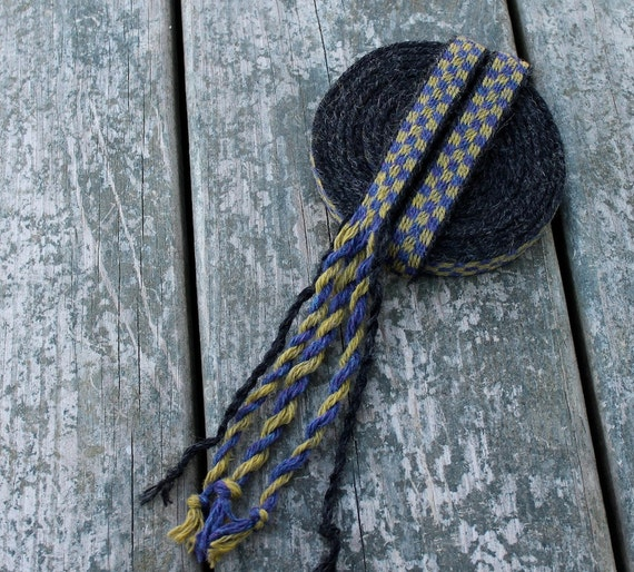 Tablet Weaving, Card Weaving, Medieval Trim, Black, Gold, Blue