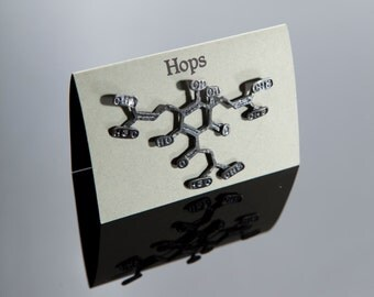 Hops Chemical Structure Pin in Sterling Silver