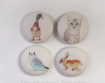 Sewing Buttons Linen Covered In Fabric Animal Prints Handmade 1.49inch (38mm) Set of 4 Budgie Cat Rabbit Duck