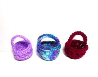 Three Miniature Crocheted Baskets, Knitting Baskets, Miniature Baskets, Crocheted Baskets, Christmas Ornament