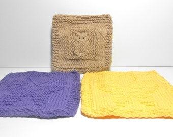 Owl Potholder or Hot Pad Butterfly Dishcloths or Washcloths  3 Piece Set