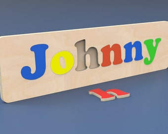 Word Name Custom Wood Puzzle with Your Child's Name.