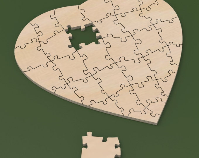"18"" x 18"" Custom Heart Shaped 30 piece Rustic Guest Book Jigsaw Wedding Puzzle for rustic or cottage chic wedding."