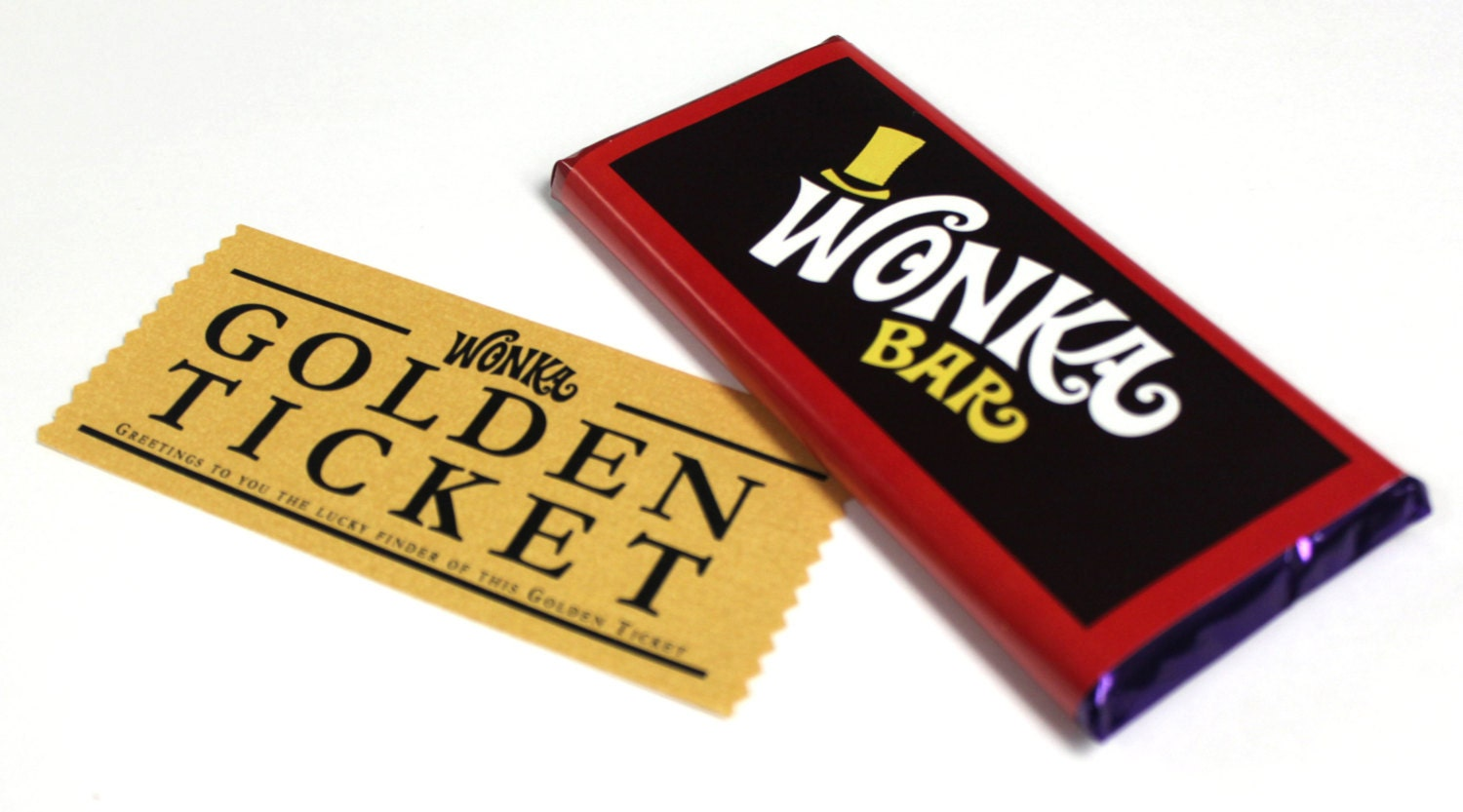 Generic Golden Tickets with Wonka Candy Bar Labels