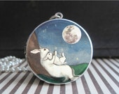 Mothers Day Gift I Love You to The Moon and Back Necklace Locket Mother and Child Necklace Bunny Rabbit Silver Locket Jewelry Gifts for Moms