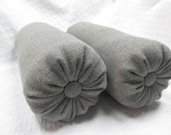 MEDINA GRAVEL gray Bolster pillows 6x14 pair