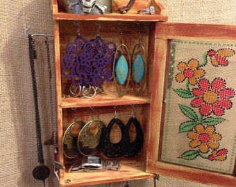Upcycled Jewelry Organizing Display (Yellow and Rust Flower Cabinet)